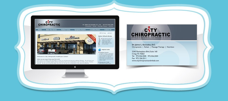 City Chiropractic Healthcare Website, Business Card and Postcard Designs