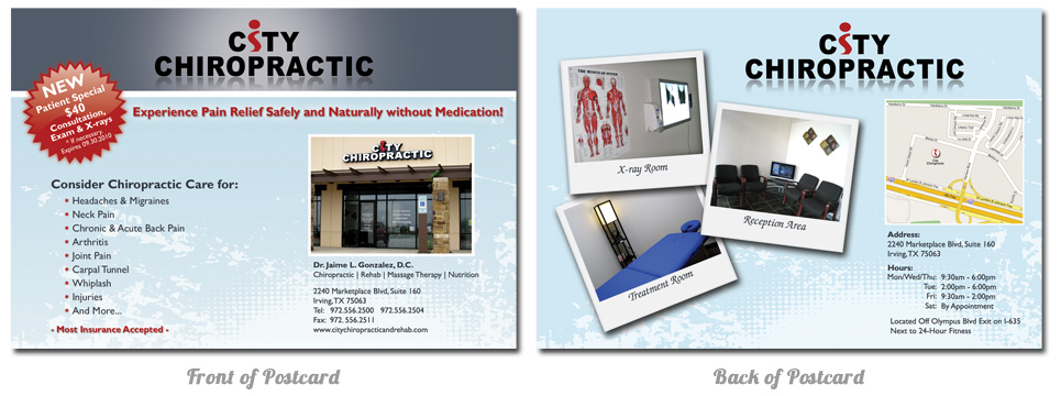 City Chiropractic Postcard Design