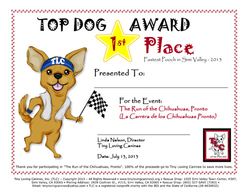 Tiny Loving Canines - Dog Race Award Certificates