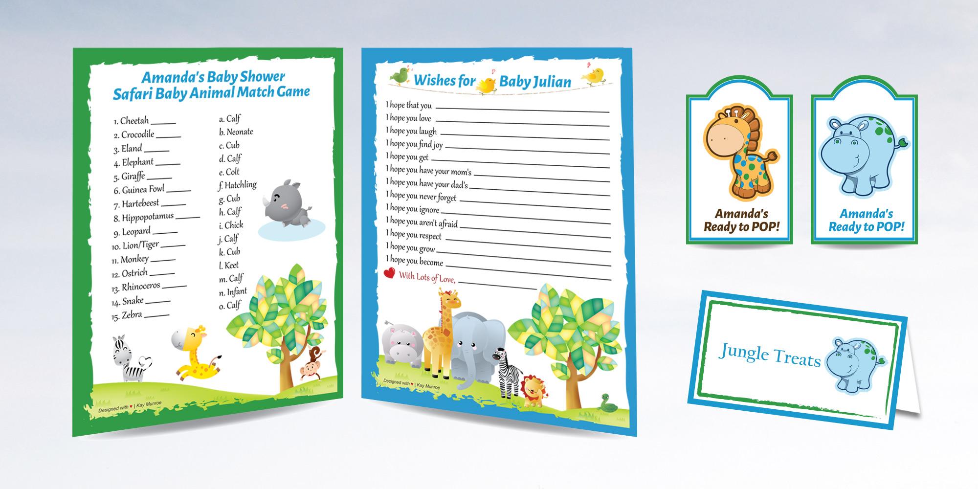 Safari Themed Baby Shower Print Design