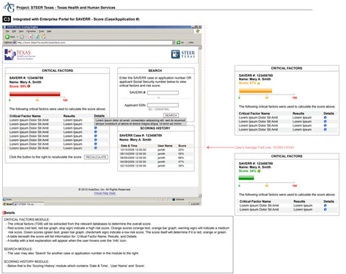 TX Health & Human Services: Wireframes for an internal application for the State of TX